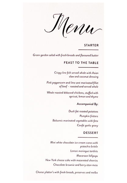 Berry Rose Menu