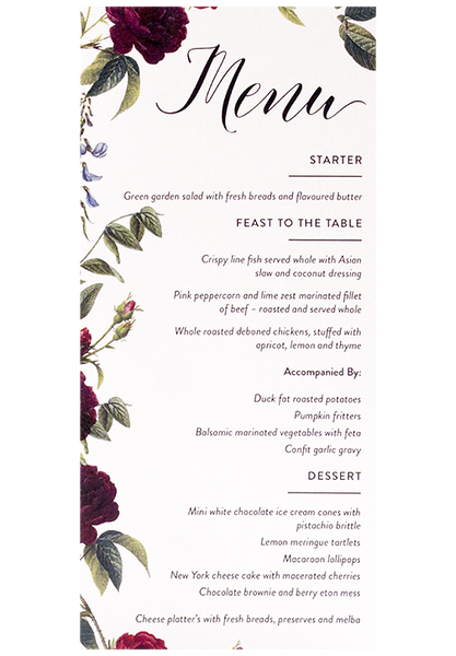 Berry Rose Menu Card