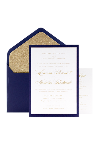 Glitter Glitz Invitation - Navy and Gold Glitter