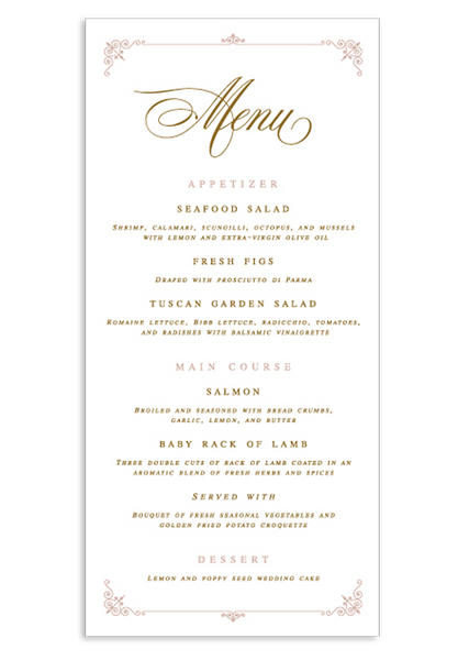 A Captivating Voyage Menu