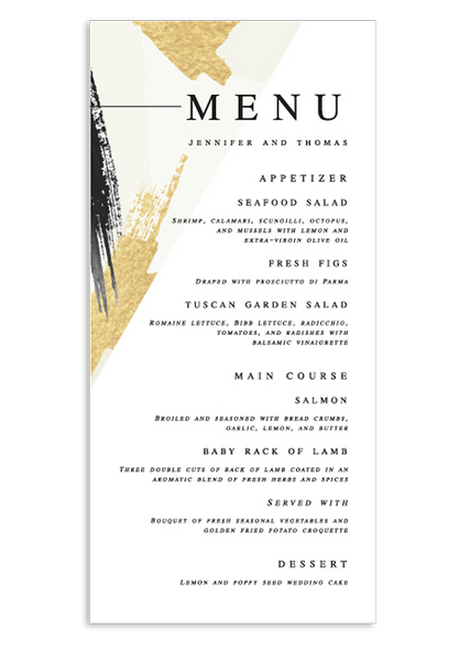 A Modern Affair - White Menu Card