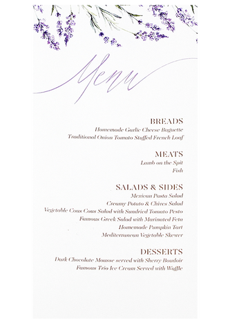 Lavender Fields Menu