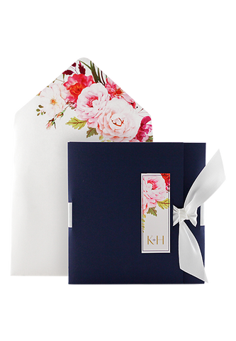 Luxury 3 Fold Invitation - Navy and Floral