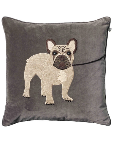 French Bulldog - grey velour - 50x50