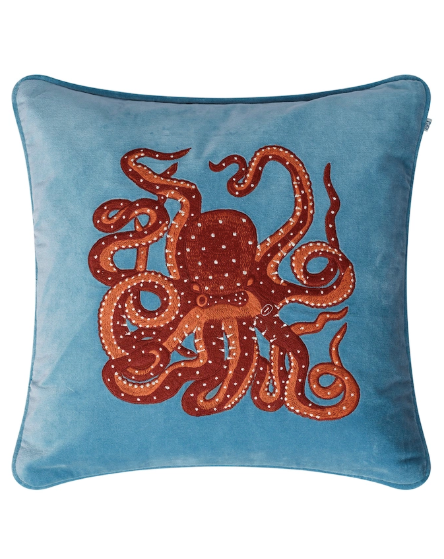 Octopus - blue velour - 50x50