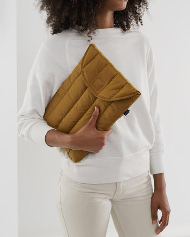 Puffy laptop sleeve - bronze