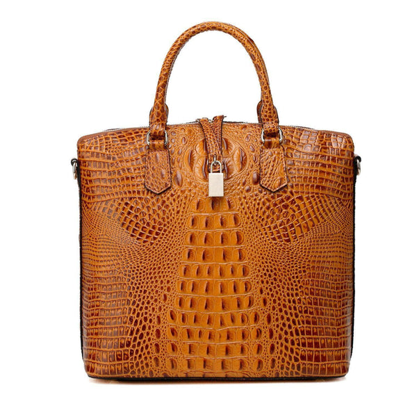 Dione Croc Embossed Tote Leather Handbag - Brown Handbags - Vicenzo Leather - Designer