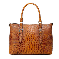Carole Croc Embossed Leather Tote Handbag - Brown Handbags - Vicenzo Leather
