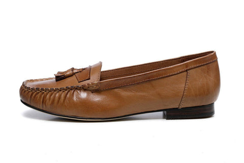 Shelby Leather Moccasin Loafer Flats - Brown Women Shoes - Vicenzo Leather - Designer