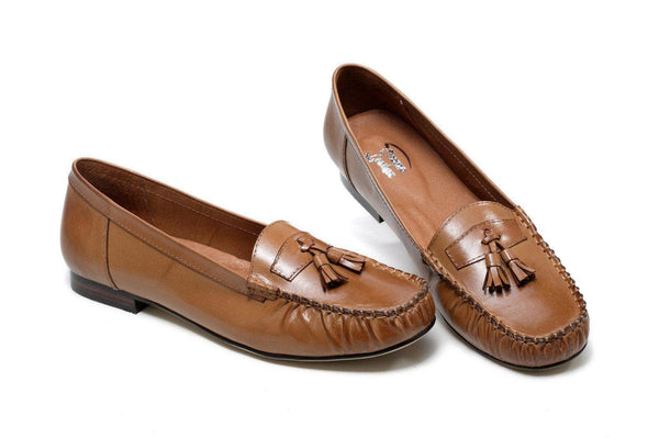 Shelby Leather Moccasin Loafer Flat - Brown Women Shoes - Vicenzo Leather