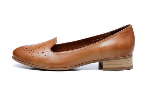 Karah Perforated Leather Flat - Brown Women Shoes - Vicenzo Leather - Designer
