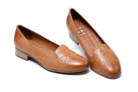 Karah Perforated Leather Flats - Brown Women Shoes - Vicenzo Leather - Designer