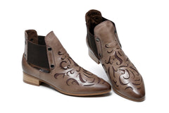 Abba Flat Heel Ankle Women Leather Boots - Brown
