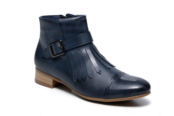 Bahati Flat Heel Ankle Women Leather Boots - Blue Women Shoes - Vicenzo Leather
