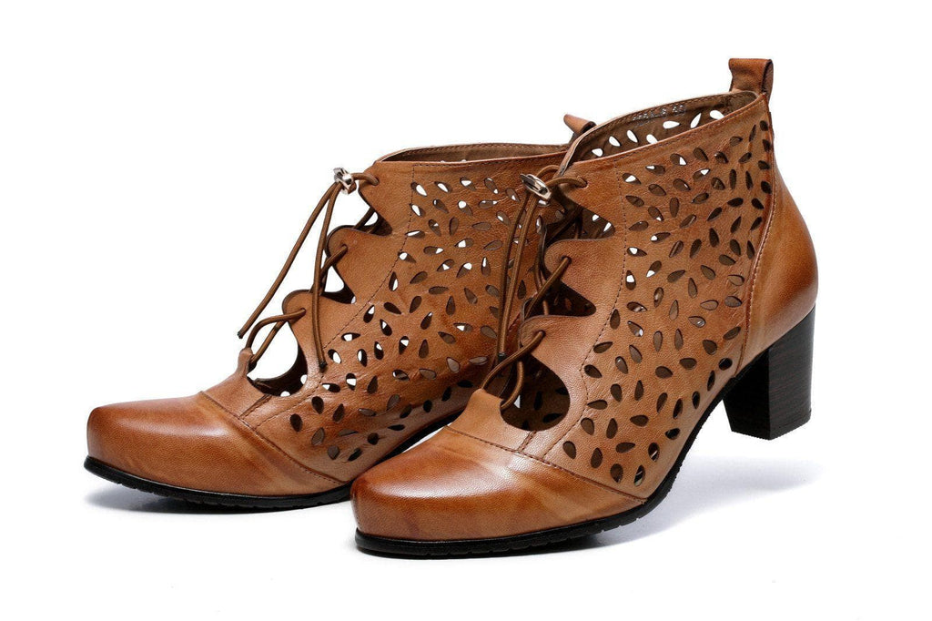 Shae Perforated Flat Heel Ankle Women Leather Boots - Brown Women Shoes - Vicenzo Leather - Designer