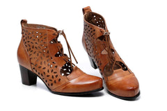 Shae Perforated Flat Heel Ankle Women Leather Boots - Brown Women Shoes - Vicenzo Leather