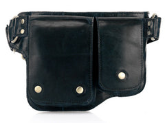 Adonis 2 Leather Waist Purse Fanny Pack - Black