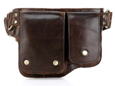 Adonis 2 Leather Waist Purse Fanny Pack - Brown waist pack - Vicenzo Leather - Designer