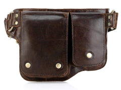 Adonis 2 Leather Waist Purse Fanny Pack - Brown waist pack - Vicenzo Leather