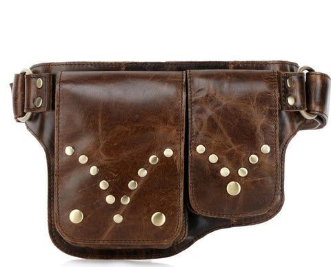 Adonis S Leather Waist Bag Fanny Pack - Brown Waistpack - Vicenzo Leather - Designer