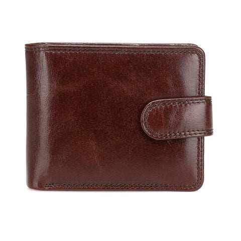Pelotas Distressed Leather Bi-fold Mens Wallet with Snap Closure - Espresso Brown Mens Wallet - Vicenzo Leather - Designer