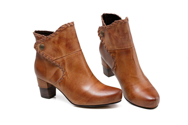 Ally Chunky Heel Women Leather Ankle Boots - Tan Women Shoes - Vicenzo Leather