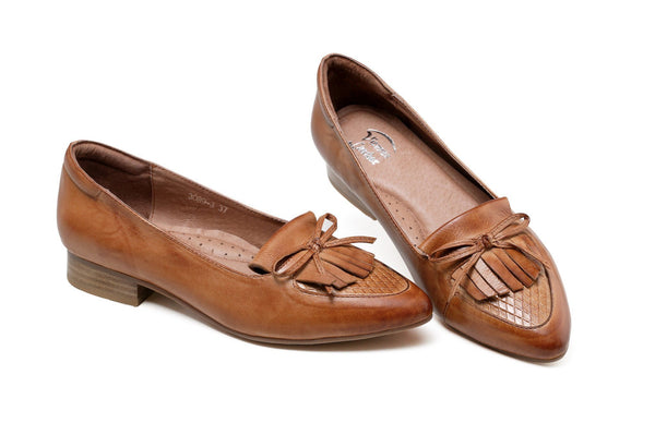 Abella Block Pointed Toe Leather Flats - Tan Women Shoes - Vicenzo Leather