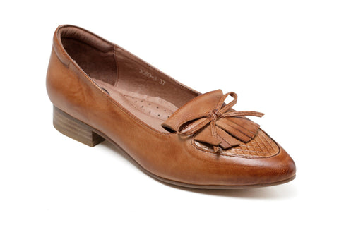 Abella Block Pointed Toe Leather Flats - Tan Women Shoes - Vicenzo Leather - Designer