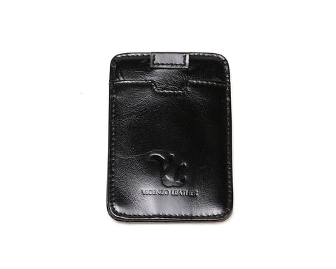 Dakota Credit Card Holder- Black Wallets - Vicenzo Leather - Designer