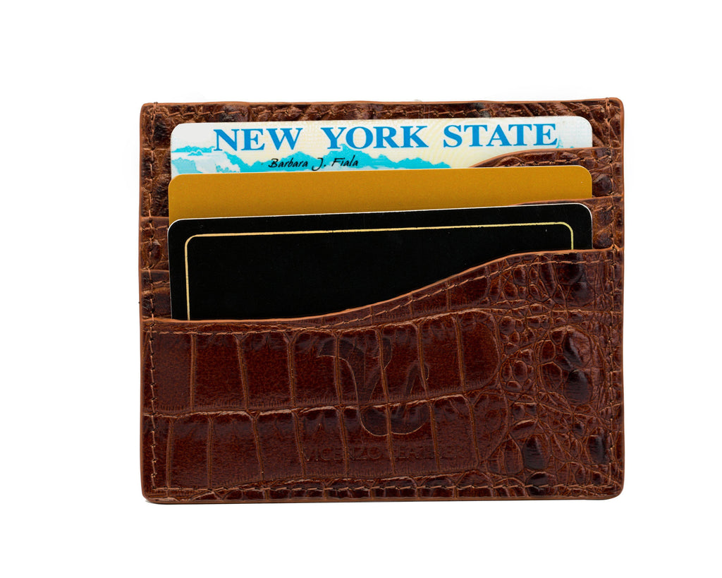 Alicia Croc Credit Card Holder Wallets - Vicenzo Leather - Designer
