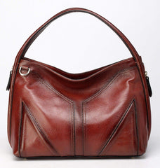 Elle Leather Hobo Handbag - Red Handbags - Vicenzo Leather - Designer
