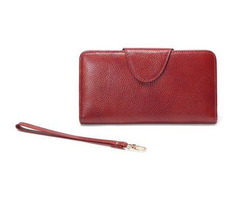 Acel Pebbled Leather Compact Wallet -Red Wallets - Vicenzo Leather - Designer