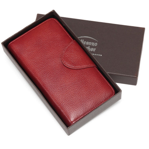Acel Pebbled Leather Compact Wallet- Red Wallets - Vicenzo Leather - Designer