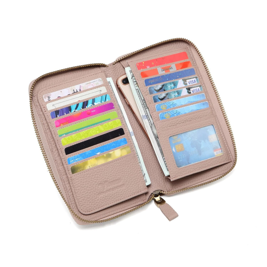 Seattle Distressed Leather Compact Wallet - PalePink Wallets - Vicenzo Leather - Designer