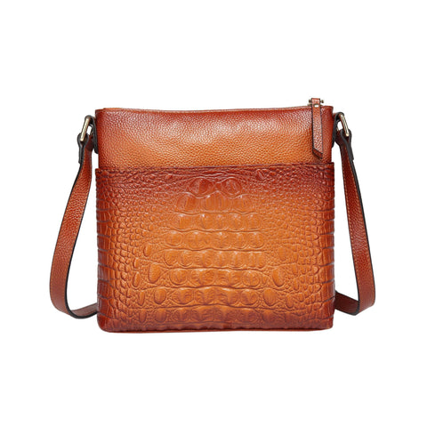 Tara Croc Embossed Leather Crossbody Bag crossbody bag - Vicenzo Leather - Designer
