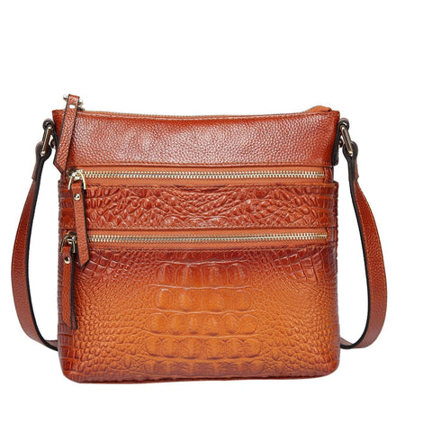 Tara Croc Embossed Leather Bag crossbody bag - Vicenzo Leather - Designer