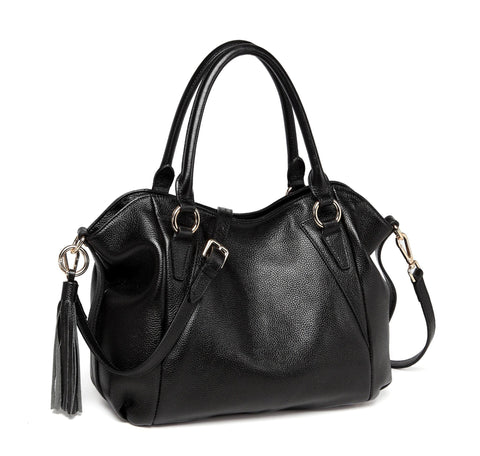 Adona Leather Handbag - Black Handbags - Vicenzo Leather - Designer