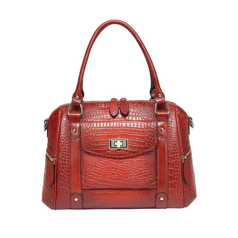 Lane Croc Leather Handbag