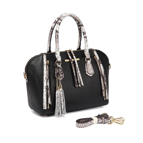 Mala Snake Print Leather Top Handle Handbag, Black Handbags - Vicenzo Leather - Designer