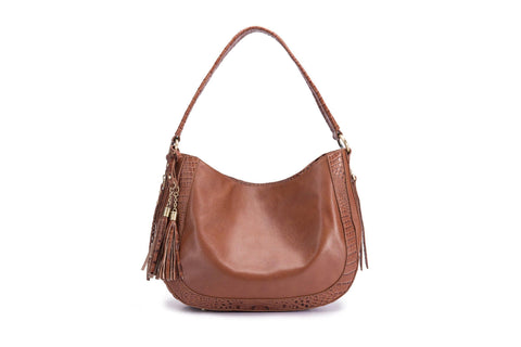 Cadence Snake Print Leather Bag-Brown Handbags - Vicenzo Leather - Designer