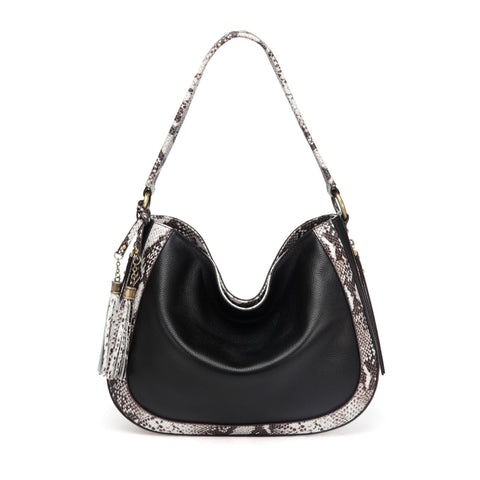 Cadence Snake Print Leather Handbag Handbags - Vicenzo Leather - Designer