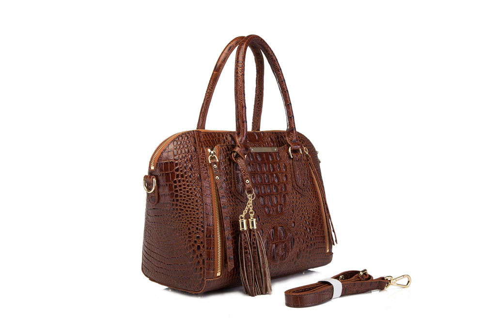 Dania Croc Embossed Leather Handbag Handbags - Vicenzo Leather - Designer