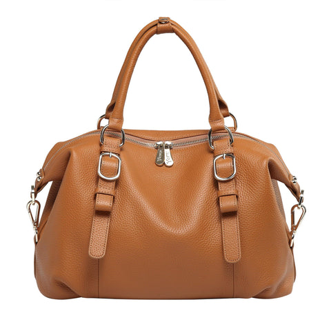 Infinity Leather Top Handle Satchel Handbag - Tan Handbags - Vicenzo Leather - Designer