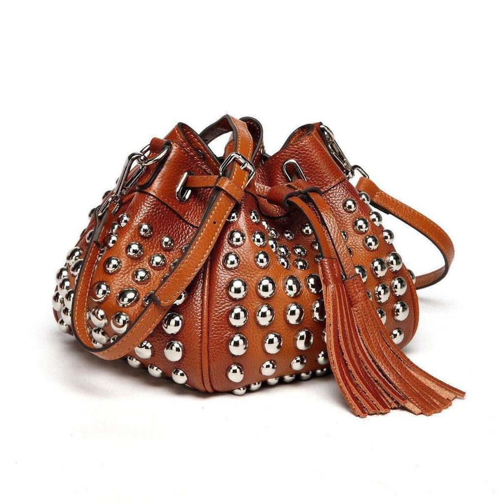 Jolyn Studded Leather Bucket Crossbody- Brown crossbody bag - Vicenzo Leather - Designer