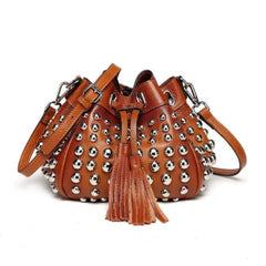 Jolyn Studded Leather Bucket Crossbody Bag - Brown Handbags - Vicenzo Leather - Designer