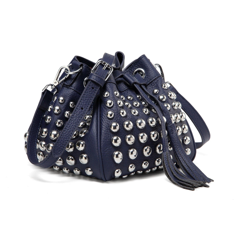 Jolyn Studded Leather Bucket Crossbody - Navy Blue crossbody bag - Vicenzo Leather - Designer
