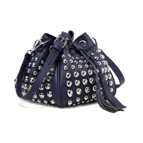 Jolyn Studded Leather Bucket Crossbody Bag - Navy Blue