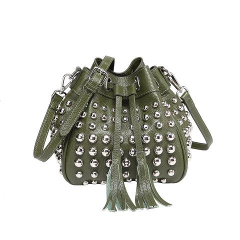 Jolyn Studded Bucket Crossbody Bag - Green Handbags - Vicenzo Leather - Designer