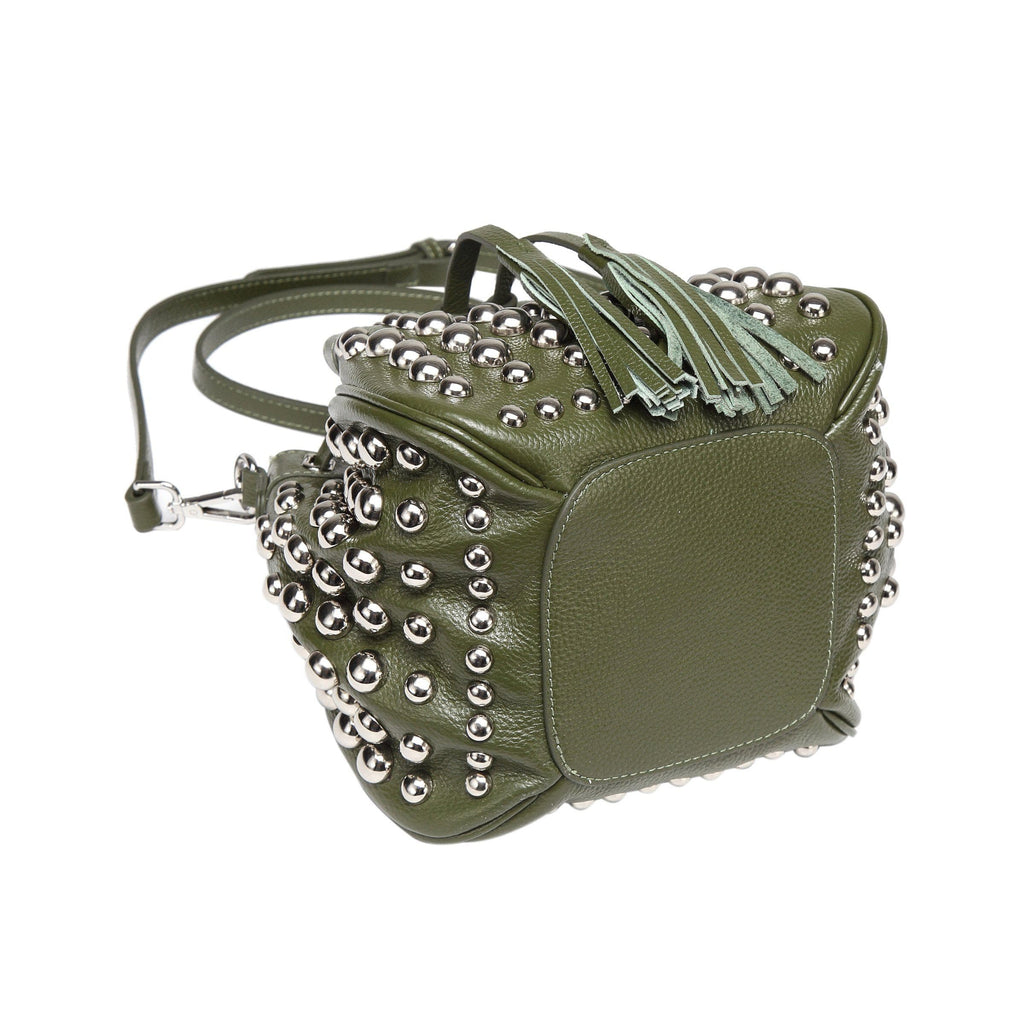 Jolyn Studded Bucket Crossbody - Green crossbody bag - Vicenzo Leather - Designer