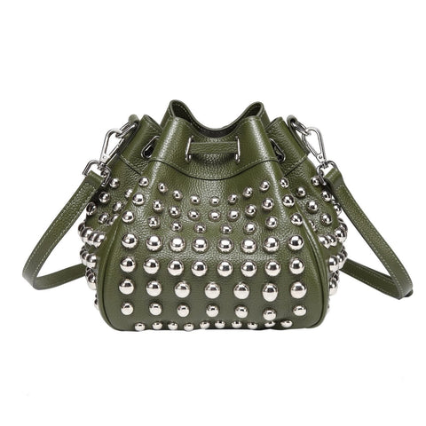 Jolyn Studded Bucket handbag - Green Handbags - Vicenzo Leather - Designer